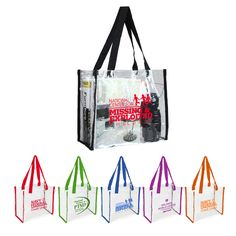 Reusable bags with reusable potential!  The slick ultra-clear PVC tote bag with…