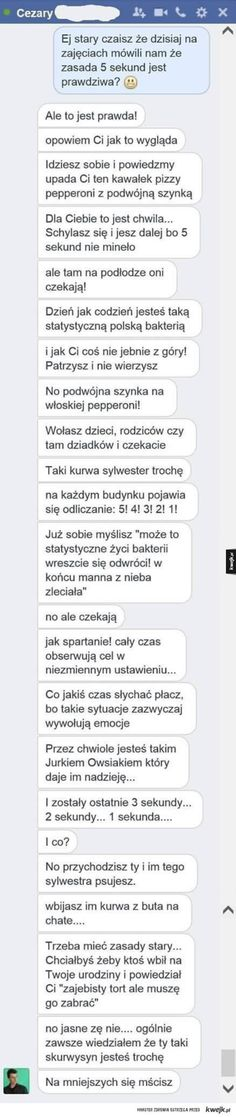 Zasada 5 sekund Funny Text Memes, Funny Sms, Funny Text Messages, Wtf Funny, Funny Texts, Hahaha Hahaha, Polish Memes, Disney Memes, Smart People