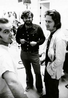 Jack Nicholson y Michael Douglas en el rodaje de Alguien Voló sobre el Nido del Cuco