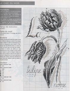 0 point de croix grille tulipe noire