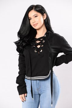 - Available in Black, Heather Grey, and White - Lace Up Front - Hoodie - Stripe Detail - Cropped - 100% Cotton