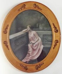 Antique Vintage Oval Frame Picture Of Woman Sitting In Pink