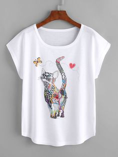 Cheap T-Shirts, Buy Directly from China Suppliers:Dotfashion Cat Print Loose Tee Shirt 2018 New Animal Round Neck Cap Sleeve Cute Female Top Summer Casual T shirt Casual T Shirts, Tee Shirts, Women's Tees, Lingerie Fine, Latest T Shirt, Printed Tees, Sleeve Styles, Shirt Designs, T Shirts For Women