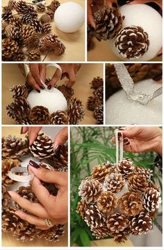 Handmade Christmas craft from pinecones