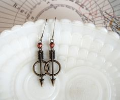 tiny warrior dangle earrings arrows with copper by mossandmirror, $16.00 #hungergames