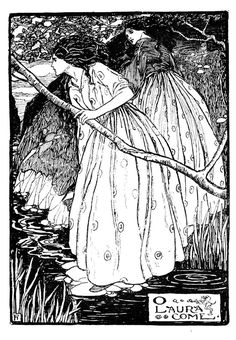 'O Laura Come' black and white illustration-by-Florence Harrison by Christina Rossetti' (Goblin Art And Illustration, Black And White Illustration, Book Illustrations, Art Nouveau, Fantasy Kunst, Fantasy Art, Goblin, Christina Rossetti, Pre Raphaelite
