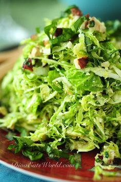 shaved brussel sprout salad with lemon, pecorino, and hazelnut dressing
