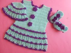 Crochet - Crosia Free Patttern with Video Tutorials: Crochet Baby Dress/Frock