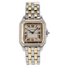 Ladies Cartier Panthere 6692 18k Gold & Stainless Steel 2 Row Quartz Watch