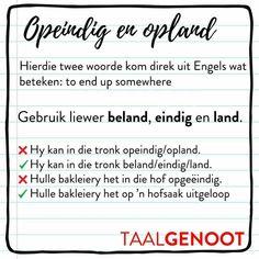 Afrikaans Language, Grammar Games, Afrikaanse Quotes, Travel Design, Wedding Art, Education Quotes, Funny Design, Success Quotes, Lesson Plans