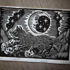A wolf that eat humans linocut by JackAnkersen on Etsy Lino Art, Woodcut Art, Linocut Prints, Tarot, Ex Libris, Macabre Art, Linoprint, Flash Art, Cool Art Drawings