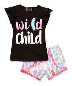 This Pink 'Wild' Angel-Sleeve Top & Shorts - Infant, Toddler & Girls is perfect! #zulilyfinds