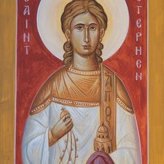 'St Stephen the Protomartyr' by ikonographics Canvas Prints, Framed Prints, Art Prints, Saint Stephen, Orthodox Icons, Art Boards, Saints, Religion, Princess Zelda