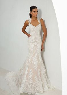 1cc9ac7661d Justin Alexander - Style 88006  Allover Lace Fit and Flare Gown with Open  Back New