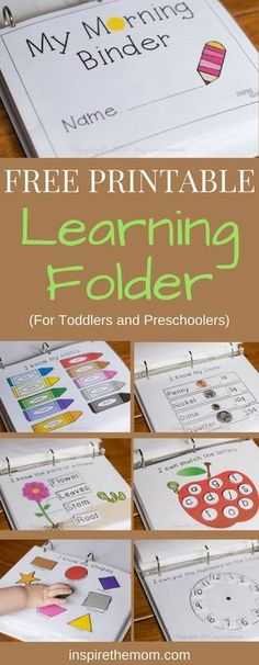 Whether you are teaching your prechooler at home or working with them in preparation for school, here is a free printable learning binder for you. Learning Activities For Toddlers, Home Learning, 3 Year Old Activities, Baby Learning Games, Toddler Home Activities, Pre School Activities, Kindergarten Name Activities, Learning Numbers Preschool, Learning Time