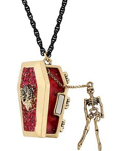 Betsey Johnson Antique Gold-Tone Coffin and Skeleton Pendant Long Necklace. I think this is for Halloween but I would want to wear it all the time. Skull Jewelry, Gothic Jewelry, Cute Jewelry, Jewelry Accessories, Fashion Accessories, Jewellery, Jewelry Box, Betsey Johnson Dresses, Gothic Fashion