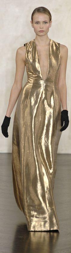 Ralph Lauren ~ Gold Metallic Sleeveless Gown