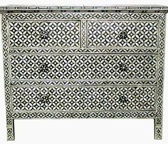 Surrealz Mother of Pearl inlaid Chest of Drawers Cupboard Sideboard in Black monochrome with floral lattice mesh pattern Also available in other bone inlay, colours and patterns
