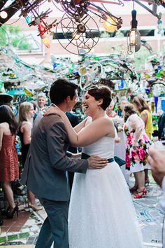 David's Bridal bride Lindsay in a strapless tea length wedding dress for her whimsical wedding.