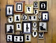 Mismatched frames and silhouettes . . . draw the silhouettes from online printouts and get throw-away or secondhand store frames.