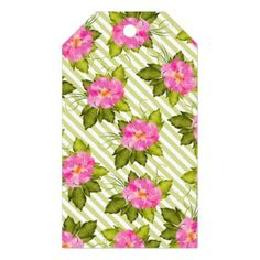 Tropical Flower Green Stripes Gift Tag  $9.45  by JoSunshineDesigns  - custom gift idea