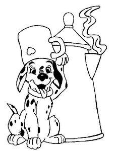 coloriage les 101 dalmatiens le chiot et la theiere