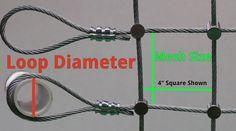 loop diameter and mesh size diagram for ordering steel netting at usnetting.com | US Netting