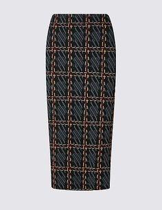 Raised Checked Pencil Skirt
