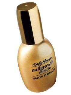 Sally Hanson's Nail Growth Miracle works SO, SO well. Reapply coat over coat and your nails will become strong. Love how shiny it is too. Dries quickly. I use it on bare nails or over color a few days after a mani to revive the color, keep polish from chipping, and prevent breaking.