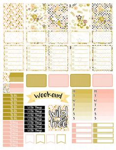 Printable Planner Stickers Gold Bird Floral Glam Planning Spring Summer Vertical…