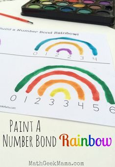 This is such a beautiful visual for kids to learn and remember their addition facts! It's also a great way for them to see the commutative property! 1st Grade Math, Kindergarten Math, Teaching Math, Teaching Tips, Second Grade, Math Resources, Math Activities, Number Bonds Activities, Rainbow Activities