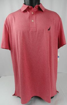 NWT Nautica Mens XL Tango Red Solid Deck Polo Shirt Performance SS Golf Wicking #Nautica #PoloRugby