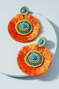 Add a statement to your look with earrings from Anthropologie. Discover our collection of unique hoop, drop, chandelier, cluster and post earrings for women. Fringe Earrings, Boho Earrings, Earrings Handmade, Crochet Earrings, Handmade Jewelry, Jewelry Gifts, Jewelry Ideas, Thread Jewellery, Tassel Jewelry