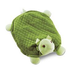 "Turtle belly blanket is super soft and large enough for baby to have plenty of wiggle room. Complemented with a limeade color ribbon. Perfect for baby's tummy time.100% polyester plush. Machine wash cold, tumble dry low. 6""h (head) x 30""l x 23""w."
