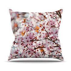 KESS InHouse IL2032AOP03 18 x 18-Inch 'Iris Lehnhardt Flowering Plum Tree Pink Blossoms' Outdoor Throw Cushion - Multi-Colour * To view further for this article, visit the image link. #GardenFurnitureandAccessories