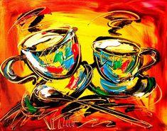 Two cups of coffee art Coffee Art, Coffee Cups, Impressionist, Coffee Recipes, The Originals, Canvas, Artist, Painting, Ebay