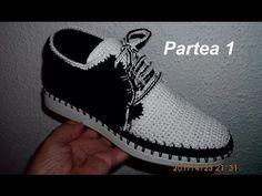 Pantofi crosetati de barbati - Partea I - YouTube