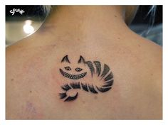 Cute Cheshire Cat Tattoo On Neck photo - 2