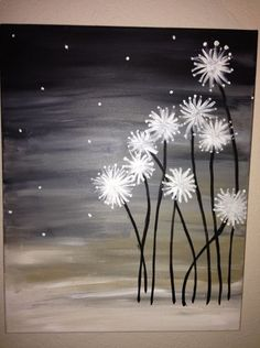Dandelions. DIY Canvas Painting. So pretty! Ive done this one! Super easy and turns out beautiful!