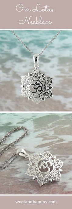 Om Lotus Necklace. The delicate, intricately-detailed petals of a lotus blossom surroung the Om symbol in this pendant. ...pinned by ♥ wootandhammy.com, thoughtful jewelry.