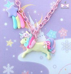 (1) lolita/fairy kei unicorn necklace | かわいい | Pinterest
