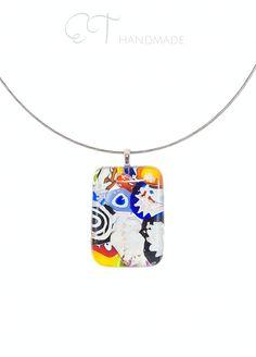 Murano glass pendant - statement pendant necklace - multicolor necklace - colorful necklace - geometric necklace - unique gifts for women