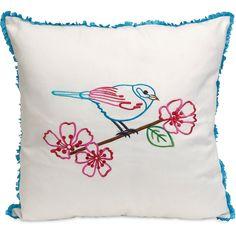 Cairns Embroidered Bird Pillow