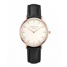 Tribeca Or Rose montre pour femme - bracelet en cuir noir   ROSEFIELD Watches