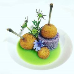 """By @chef_yankavi """"Stuffed chicken wings, purple cabbage risotto and green…"""
