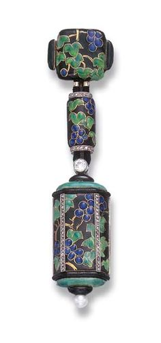 AN ENAMEL, DIAMOND AND PEARL LAPEL WATCH, BY LACLOCHE FRERES  mounted in 18k gold, circa 1925