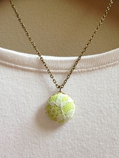 Neon & Lace Round Pendant Necklace - Lime Green - Covered Button - 16""