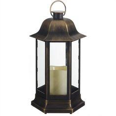 Farol porta velas con vela led. Farol de estilo étnico