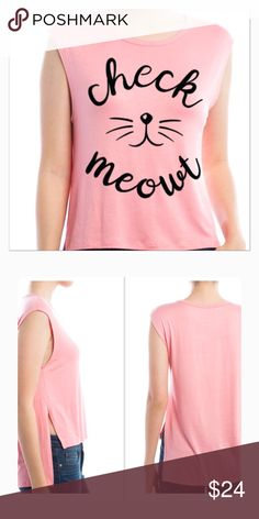 Check Mewout hi/low tee Check Mewout print top. Hi low, sleeveless tee shirt. Color is rose (soft pink). 95% rayon, 5% spandex.                                                             US sizes S 4-6 Bust 33.5-35.5 Waist 25.5-27.5 M 8-10 Bust 36-38 Waist 28-30 L 12-14 Bust 38-40 Waist 30-32 Tops Tank Tops
