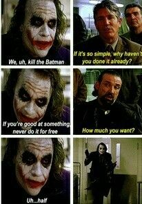 Joker, The Dark Knight (Heath Ledger does an excellent job playing the Joker). If u wanna see goof acting watch this movie! I Am Batman, Batman Robin, Marvel Dc Comics, Anime Comics, Joker And Harley Quinn, Joker Joker, Heath Ledger Joker, The Dark Knight Trilogy, Joker Quotes